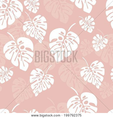 Summer seamless pattern with white monstera palm leaves on pink background vector illustration