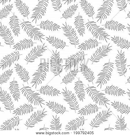 Seamless pattern with tropical black leaves on white background vector illustration