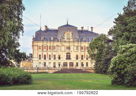 PSZCZYNA POLAND - JULY 20 2107: Castle in Pszczyna town in Poland. Beautiful antique neo baroque castle.