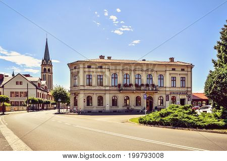 WILAMOWICE POLAND - AUGUST 5 2017: Market in the small beautiful town of Wilamowice in Lesser Poland.