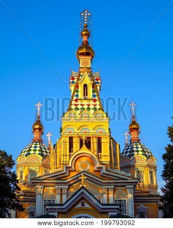 Ascension Cathedral (Zenkov Cathedral) in Almaty Kazakhstan. Cathedral was completed in 1907 is the second tallest wooden building in the world.