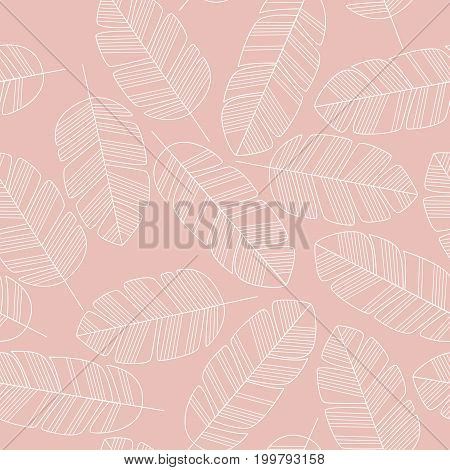 Seamless pattern with white leaves on pink background vector illustration
