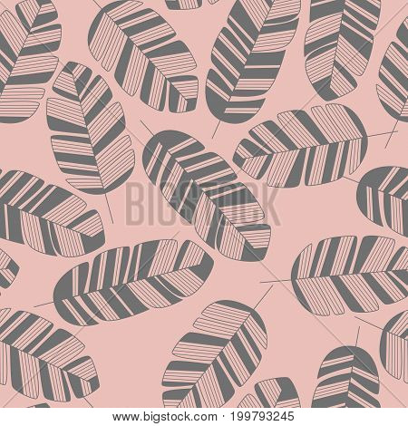 Seamless pattern with gray leaves on pink background vector illustration