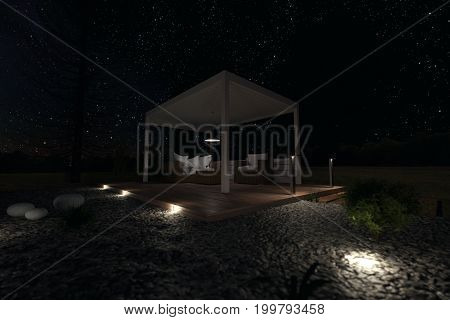 3d rendering of white patio roof outside at green garden with pebbles and shrubs under stars night sky