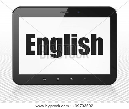Education concept: Tablet Pc Computer with black text English on display, 3D rendering