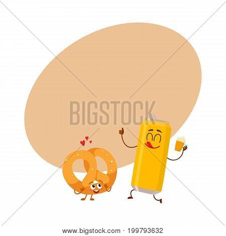 Happy aluminium beer can and salty pretzel characters having fun together, cartoon vector illustration with space for text. Funny smiling beer can and pretzel characters, go well together