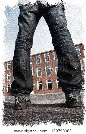 Misfit young man with scattered legs standing in front of a building. Charcoal illustration