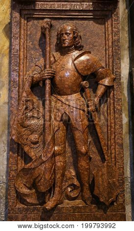 Sculpture Of A Knight In The Cathedral Of Trento