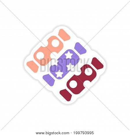 paper sticker on white background chocolate candies