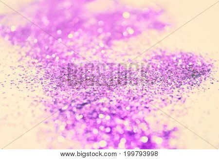Purple glitter. Photographic filters were used, nostalgic colors