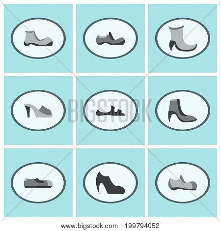 assembly of flat icons shoes fashion shopping