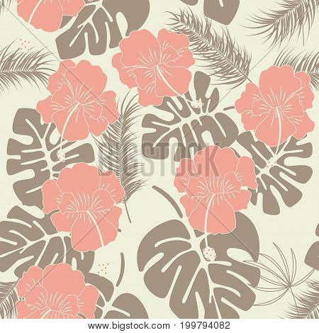 Seamless tropical pattern with monstera leaves and flowers on vanilla background vector illustration