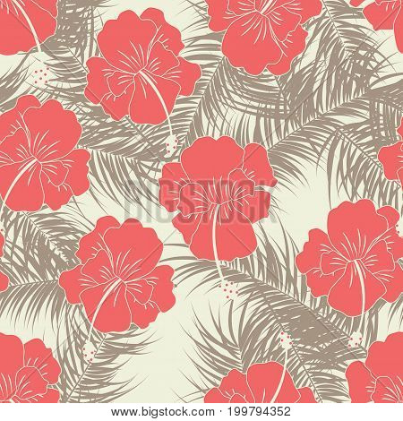Seamless tropical pattern with brown leaves and red flowers on vanilla background vector illustration