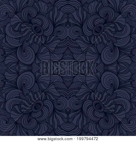 Abstract Zen-doodle seamless pattern in  dark blue  black colors for  decoration cosmetic perfume textile clothes package