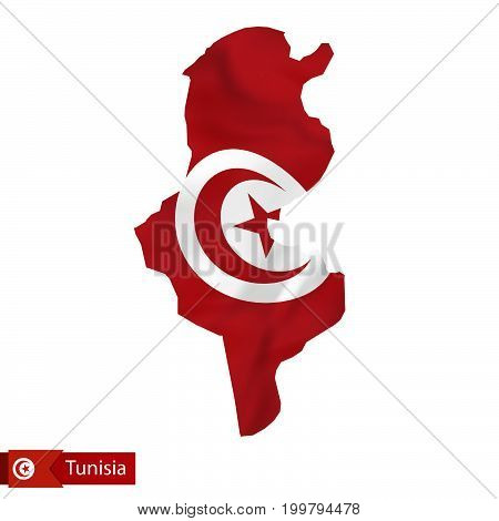 Tunisia Map With Waving Flag Of Country.
