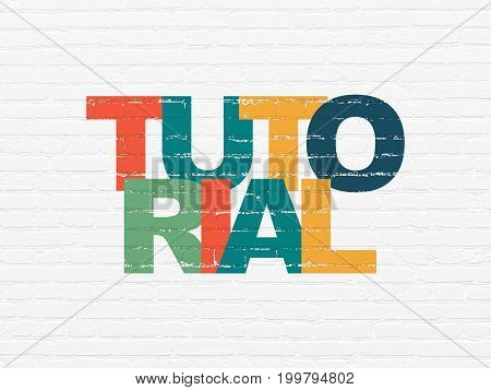 Learning concept: Painted multicolor text Tutorial on White Brick wall background