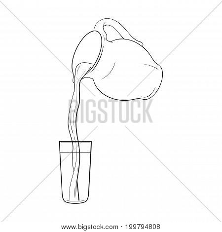 Drawing of liquid, drink pouring from jar into tall glass, sketch vector illustration isolated on white background. Hand drawn glass jar with liquid pouring from it into glass