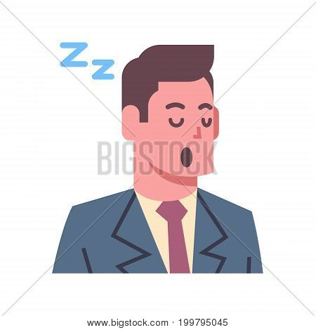 Male Napping Emotion Icon Isolated Avatar Man Facial Expression Concept Face Vector Illustration