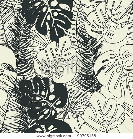 Summer seamless tropical pattern with monstera palm leaves and plants on vanilla background vector illustration