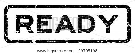 Grunge black ready square rubber seal stamp on white background