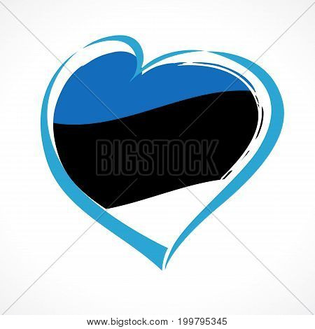 Love Estonia greeting card. Independence day of Estonia blue heart on national flag vector background