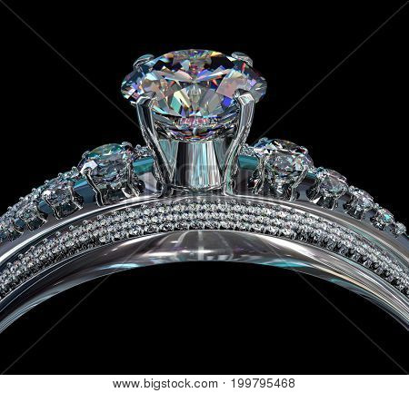 Silver band for engagement with gem. Top view of diamond facetes luxury jewellery bijouterie ring from white gold or platinum with gemstone. 3D rendering on black background. Beautiful tiara.