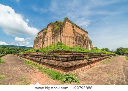 Ruined Mingun pagoda  in Mingun paya Temple, Mandalay, Myanmar