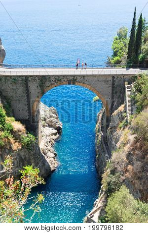 famous picturesque road viaduct of Amalfi coast, Italy