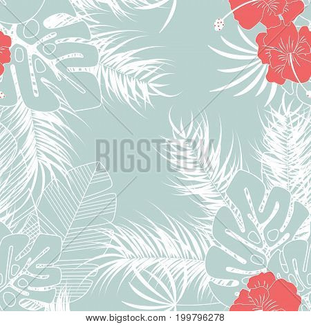 Summer seamless tropical pattern with monstera palm leaves and flowers on blue background vector illustration