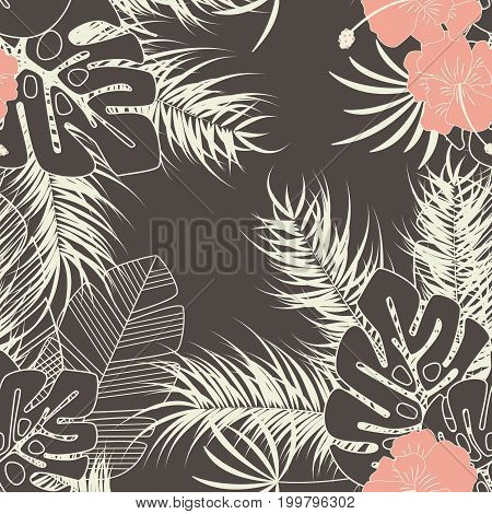 Summer seamless tropical pattern with monstera palm leaves plants and flowers on brown background vector illustration