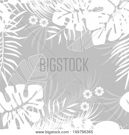 Summer seamless tropical pattern with monstera palm leaves and plants on gray background vector illustration