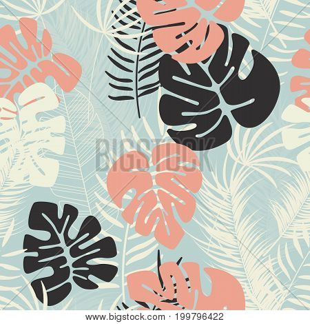 Summer seamless tropical pattern with colorful monstera palm leaves and plants on blue background vector illustration