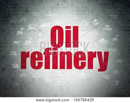 Manufacuring concept: Painted red text Oil Refinery on Digital Data Paper background with  Hand Drawn Industry Icons