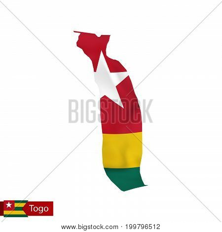 Togo Map With Waving Flag Of Country.