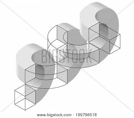 Spatial paradox, Esher's infinite staircase principle. Isometric arched shapes, isolated on white background. Abstract object, background. Three-dimensional round shapes, brain teaser. Low poly vector