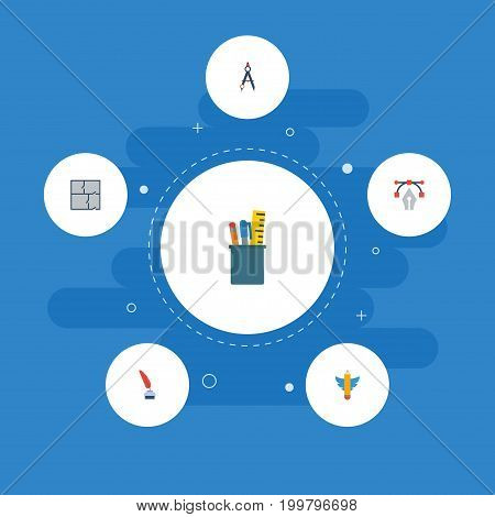 Flat Icons Wings, Writing, Scheme And Other Vector Elements