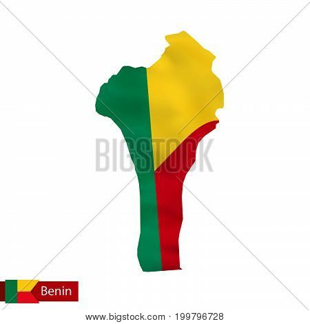 Benin Map With Waving Flag Of Country.