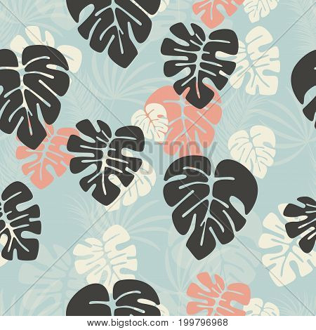 Seamless pattern with monstera palm leaves and plants on dark background vector illustration
