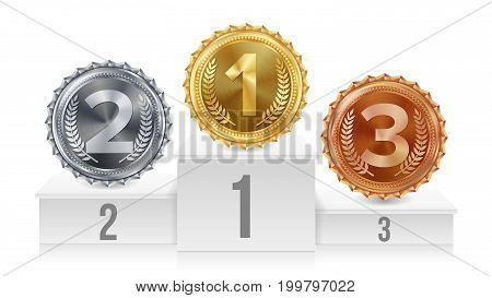 Winner Pedestal With Gold, Silver, Bronze Medals Vector. White Winners Podium. Number One. Red Ribbon, Olive Branch Competition Trophy. Isolated Illustration.