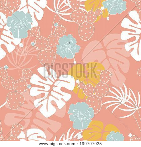 Seamless tropical pattern with monstera palm leaves plants flowers and cactus on pink background vector illustration