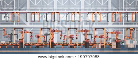 Factory Production Conveyor Automatic Assembly Line Machinery Industrial Automation Industry Concept Flat Vector Illustration