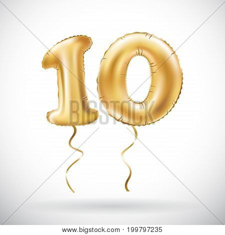 Vector Golden Number 10 Ten Metallic Balloon. Party Decoration Golden Balloons. Anniversary Sign For