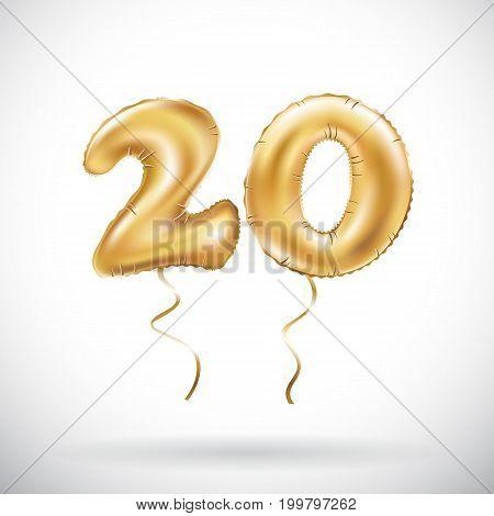 Vector Golden Number 20 Twenty Metallic Balloon. Party Decoration Golden Balloons. Anniversary Sign