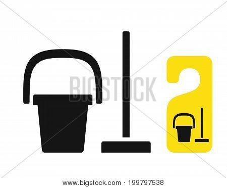 Bucket and mop black icon, cleaning simbol, may be used on door hanger, vector illustration isolated on white background
