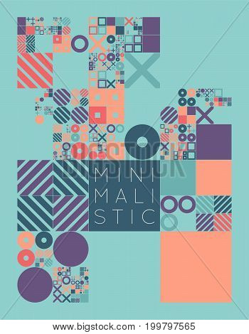 Subdivided grid system with symbols. Randomly sized objects with fixed space between. Futuristic minimalistic colorful layout. Conceptual generative background. Procedural graphics. Creative coding