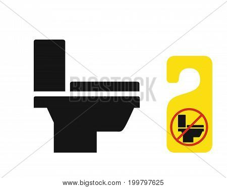 Toilet bowl black monochrome icon, may be used on door hanger, vector illustration isolated on white background