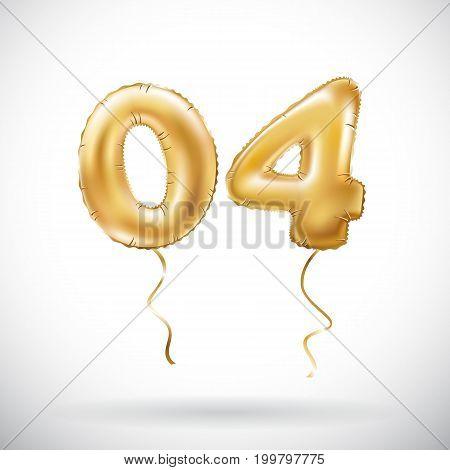 Vector Golden Number 04 Zero Four Metallic Balloon. Party Decoration Golden Balloons. Anniversary Si