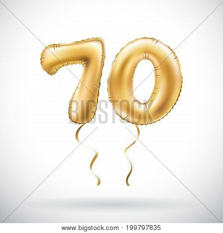 Vector Golden Number 70 Seventy Metallic Balloon. Party Decoration Golden Balloons. Anniversary Sign