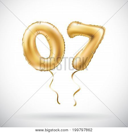 Vector Golden Number 0 7 Zero Seven Metallic Balloon. Party Decoration Golden Balloons. Anniversary