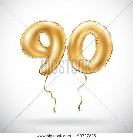 Vector Golden Number 90 Ninety Metallic Balloon. Party Decoration Golden Balloons. Anniversary Sign